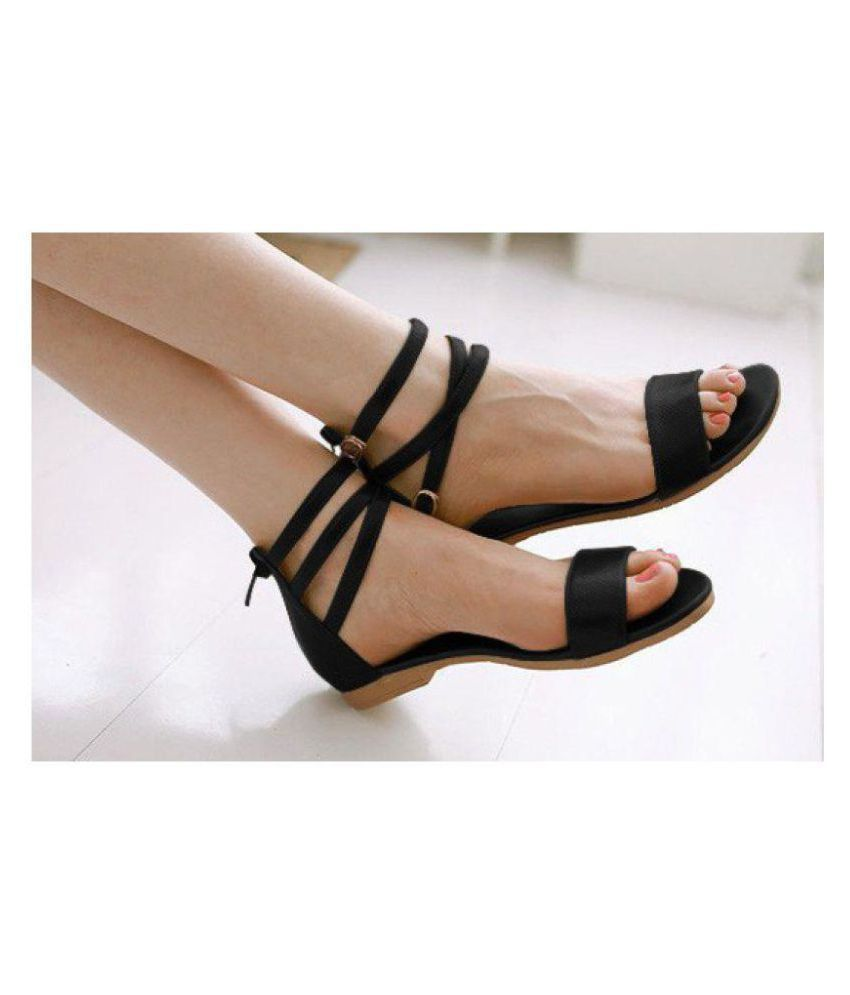 40c4f78f3c7f PKKART Black Flat Sandals Price in India- Buy PKKART Black Flat Sandals  Online at Snapdeal