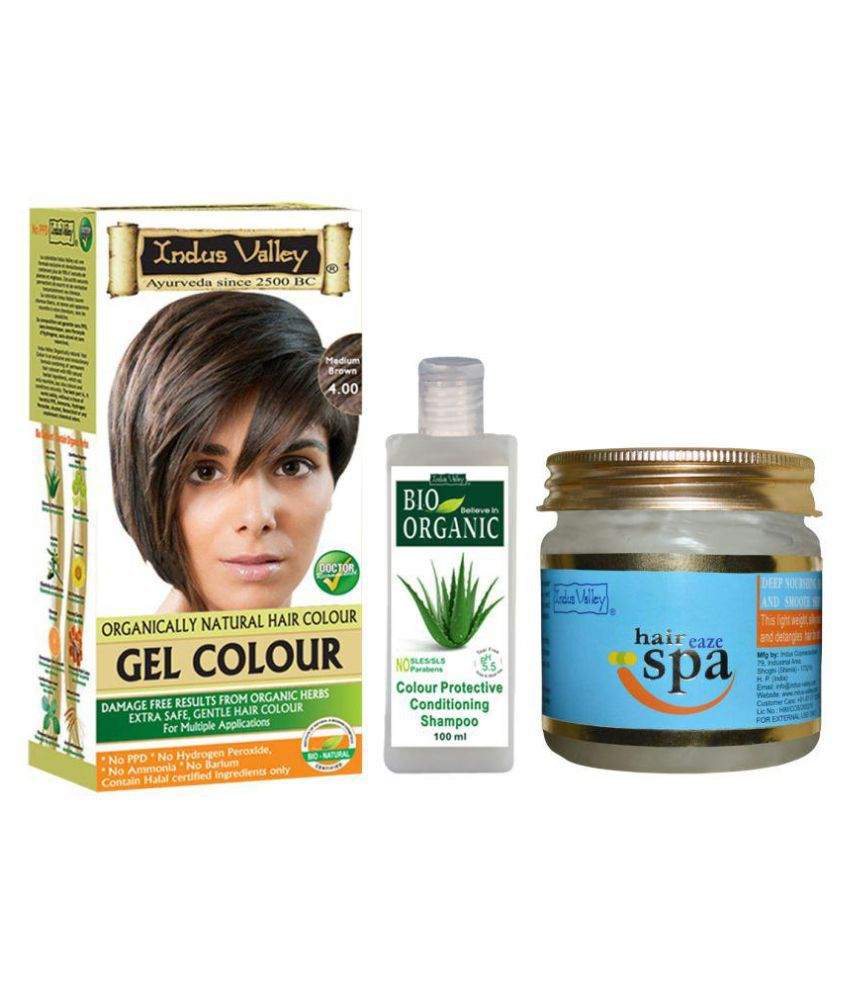 Indus Valley Gel Medium Brown Hair Color With Shampoo & Hair Spa Mask For Shine Enhancing