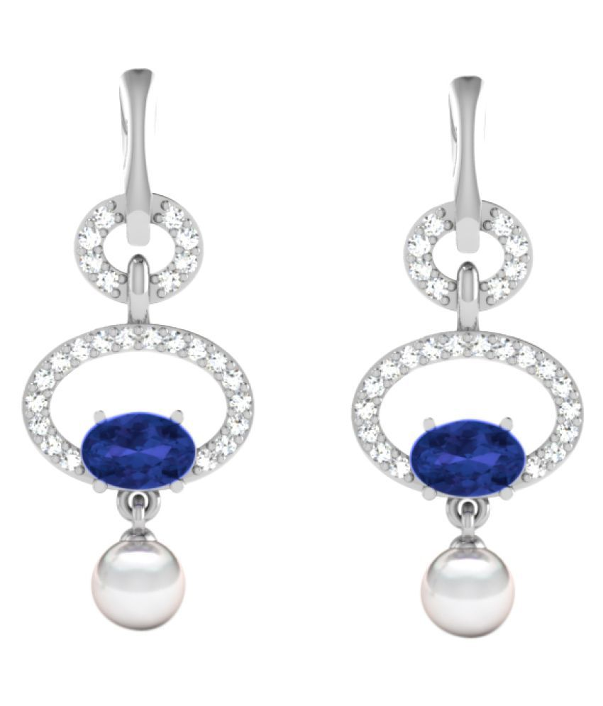 His & Her 9k White Gold Sapphire Hangings