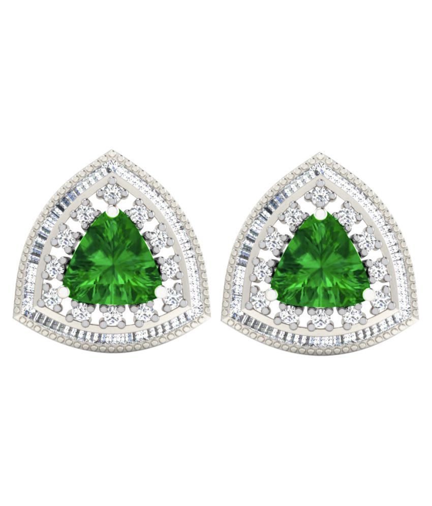 His & Her 9k White Gold Emerald Hangings