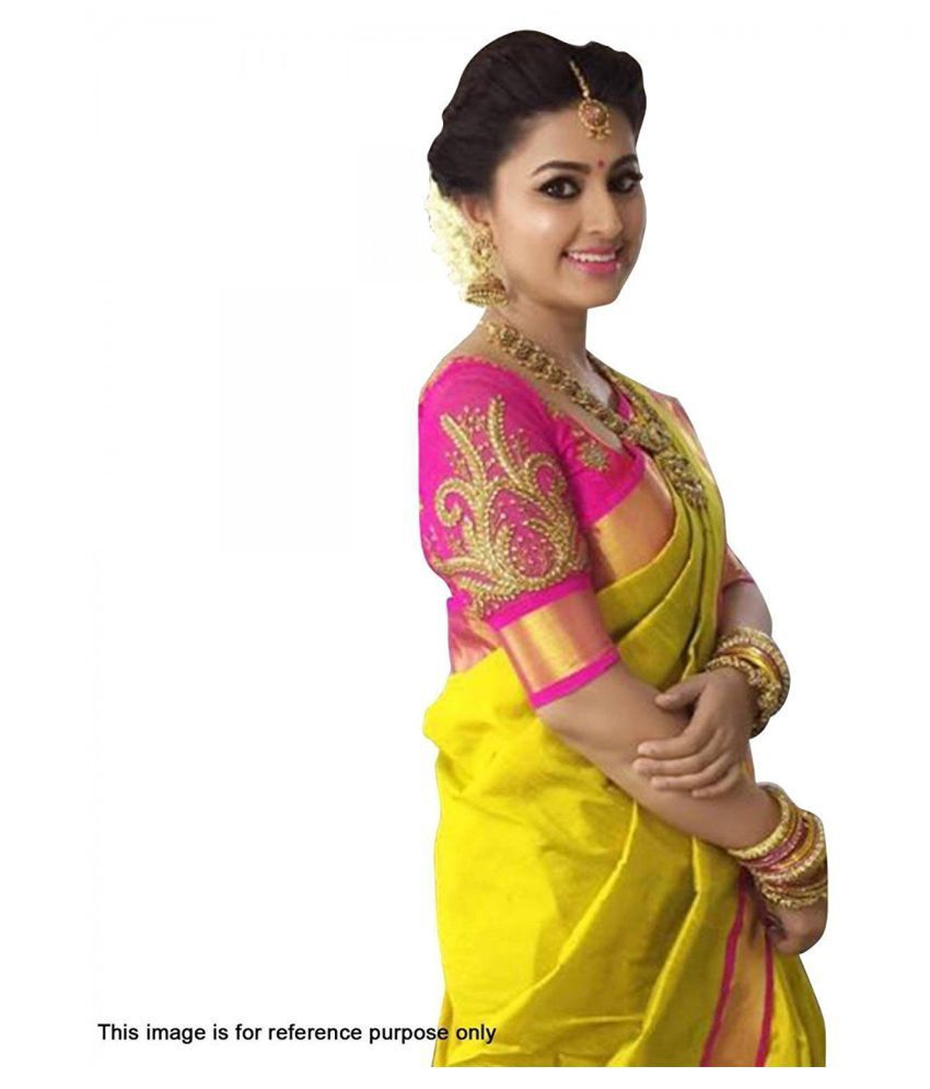 fc80e0affa IndoPrimo Yellow and Brown Cotton Silk Saree - Buy IndoPrimo Yellow and  Brown Cotton Silk Saree Online at Low Price - Snapdeal.com