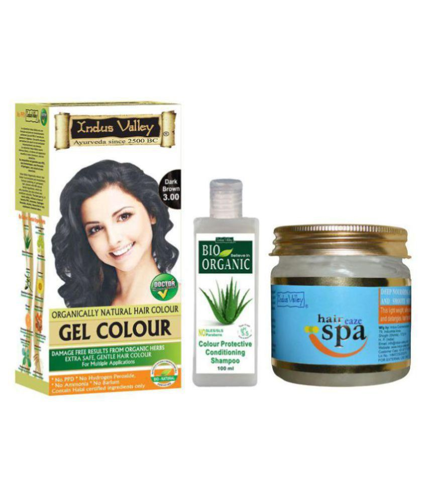 Indus Valley Gel Dark Brown Hair Color With Shampoo & Hair Spa Mask For Shine Enhancing