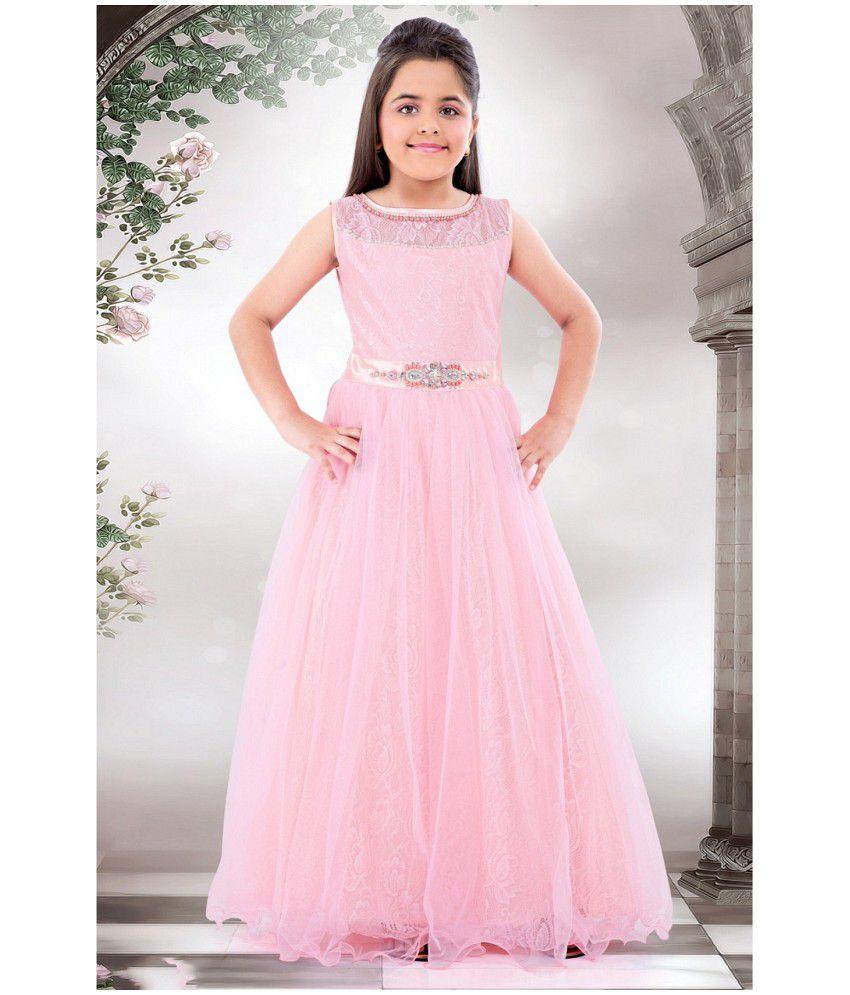 White Button New Designer Soft Pink Hand Work Girls Party Wear Gown ...