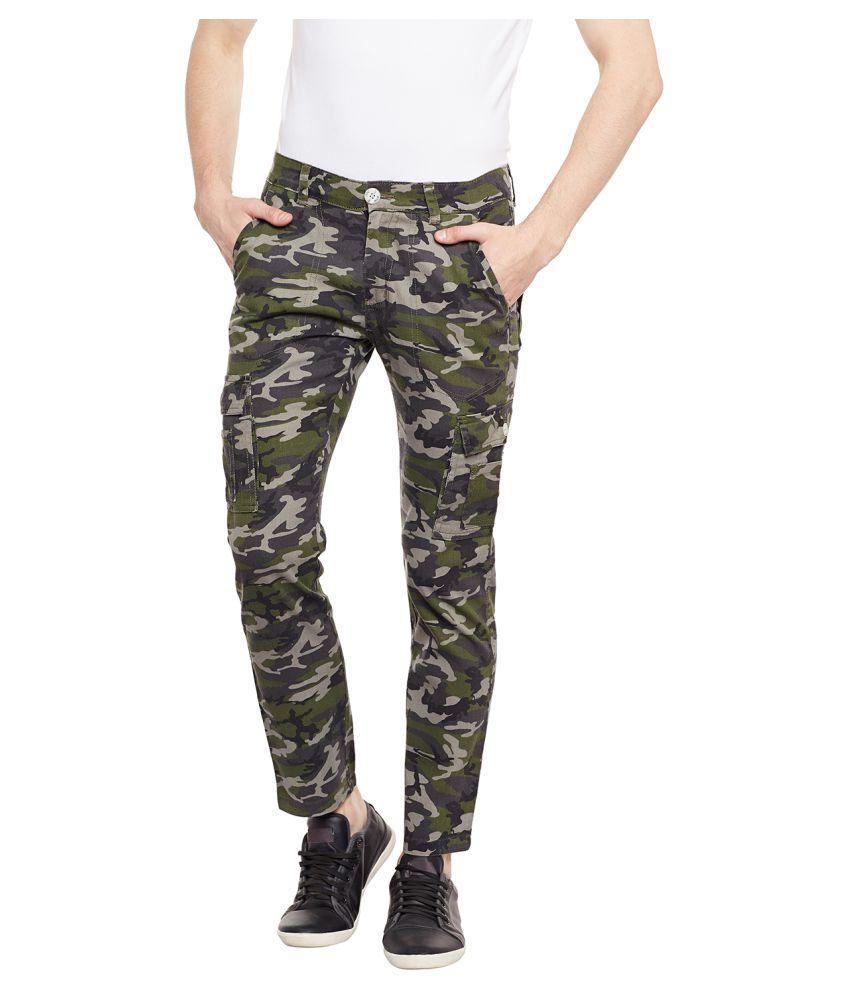 Wear Your Mind Green Regular -Fit Flat Cargos