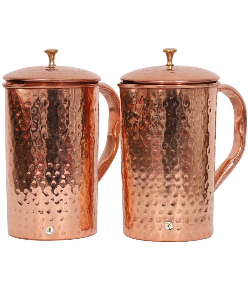 KDT Hammered Copper Jug Pitcher - Set of 2 Copper Jugs 1250 ml