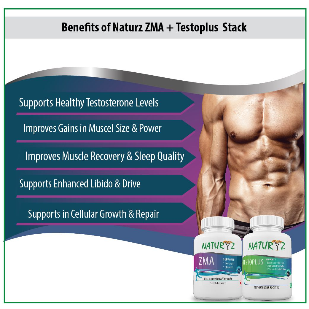 NATURYZ Testosterone Booster Supplements Stack for Men Capsule 60 no s