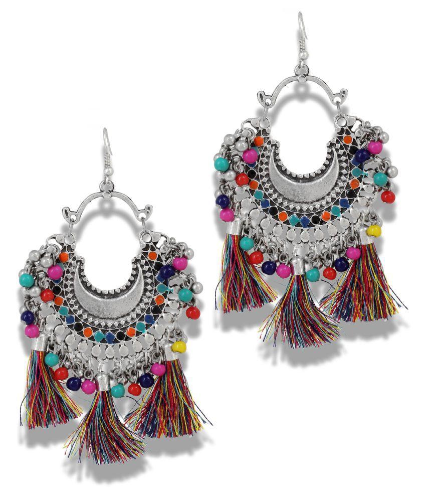 Mali Fionna German Silver Multi colour Bead Studed Thread Earrings