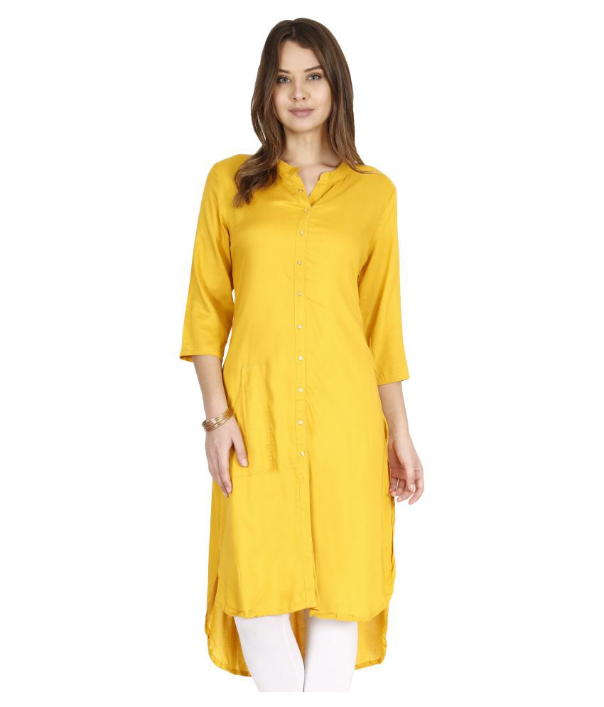 e2fe8cf6f4 ALENA Yellow Rayon Straight Kurti - Buy ALENA Yellow Rayon Straight Kurti  Online at Best Prices in India on Snapdeal