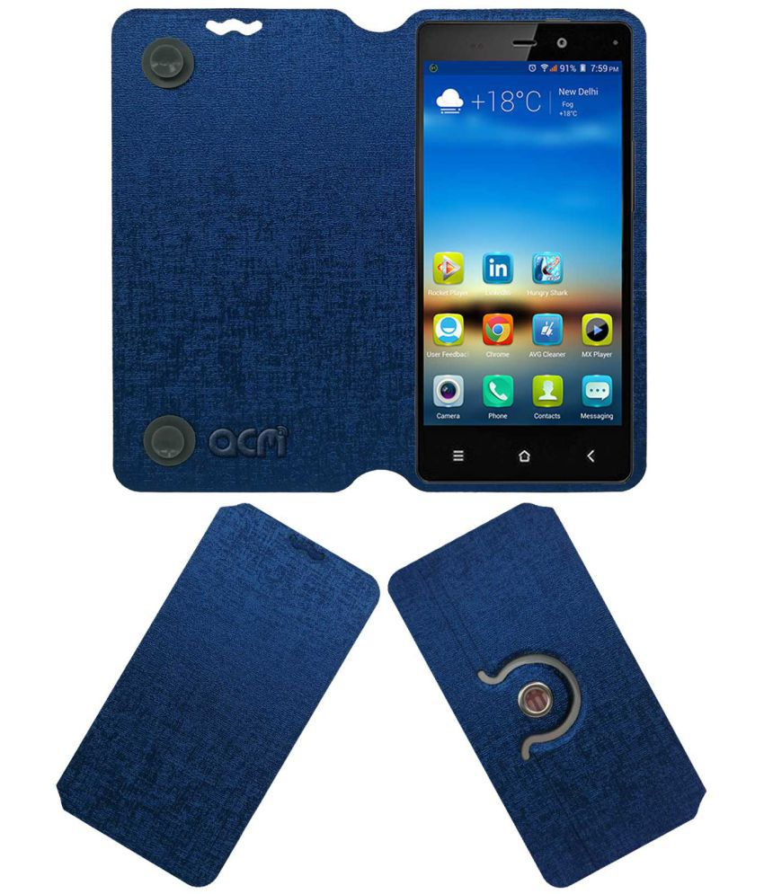 Gionee Elife E6 Flip Cover by ACM - Blue