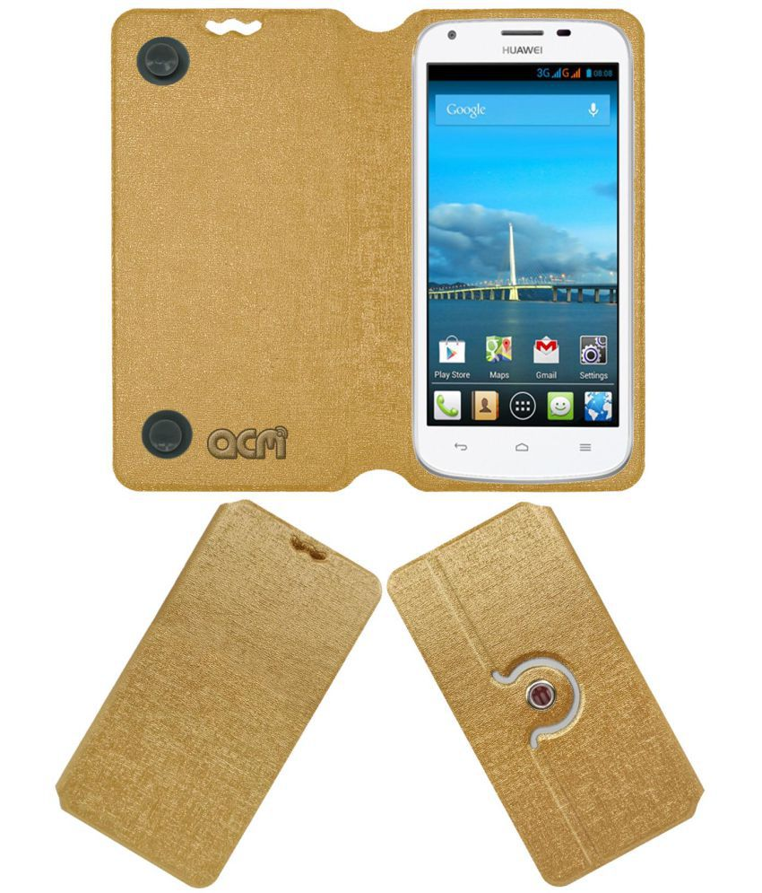 Huawei Ascend Y600 Flip Cover by ACM - Golden