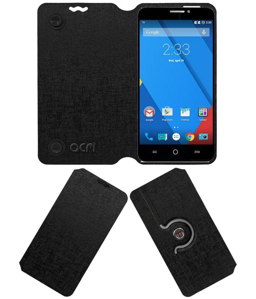 new product f3443 02e58 YU Yureka Plus Flip Cover by ACM - Black