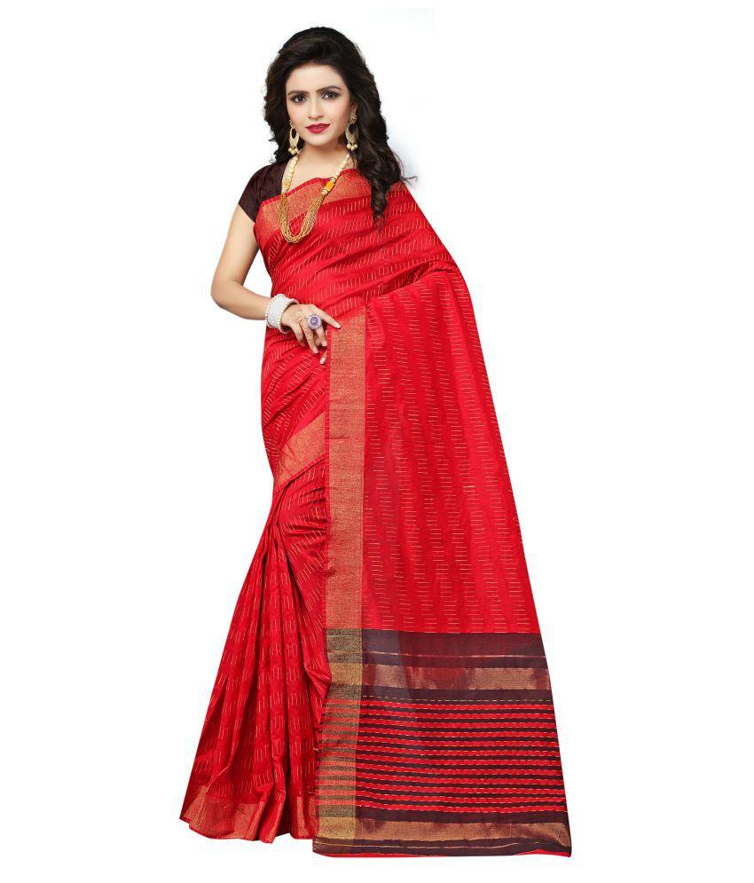 Indian Fashionista Red Cotton Saree