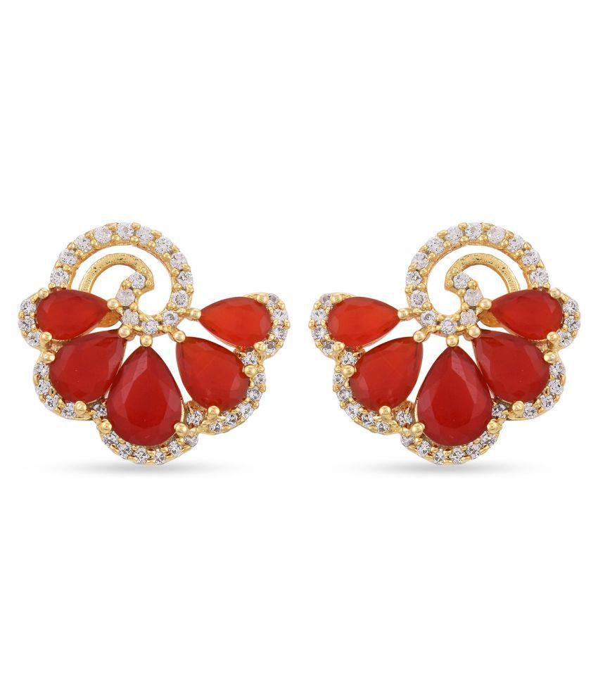 Tistabene American Diamonds and Red Colored Stones Latest Trendy Designer Stud Earring For Women\Girls (ER-3253)