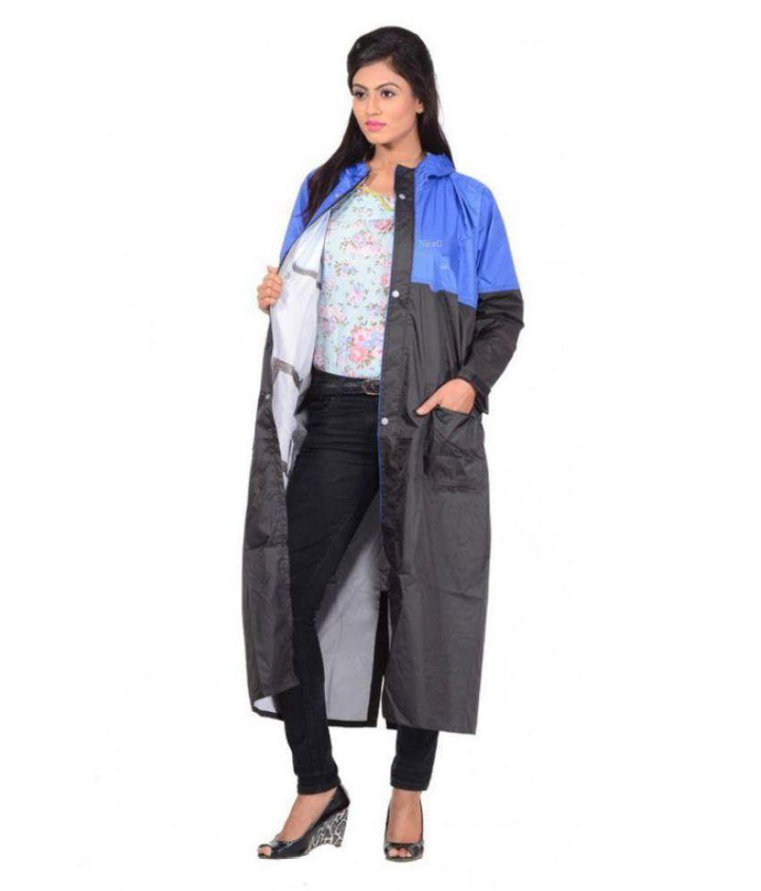 NiceG Polyester Long Raincoat - Black