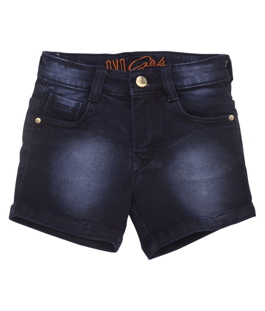 OVO Girls Regular Fit Blue Denim Shorts
