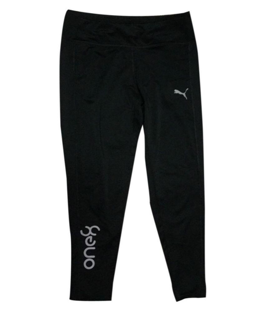 Puma Black Polyester Viscose Trackpants for Girls