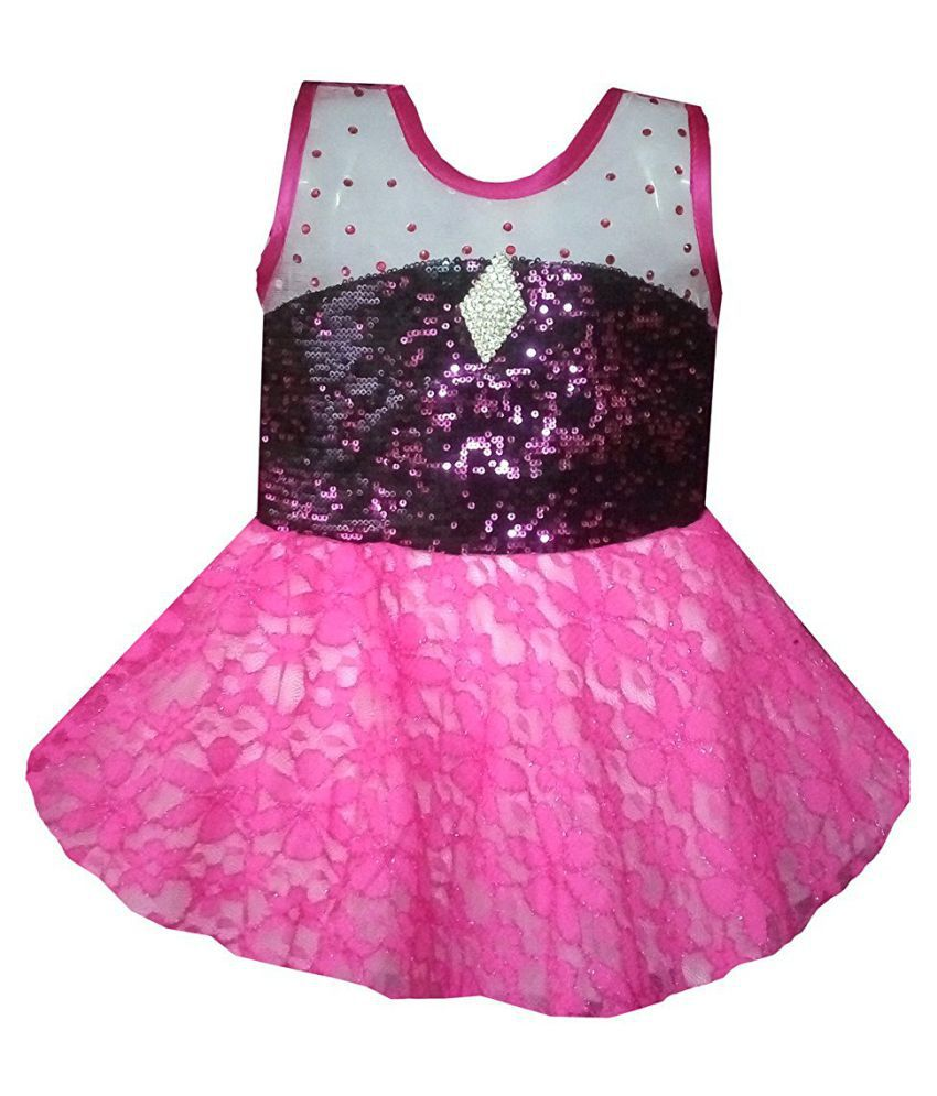 All About Pinks' Flared Dress for girl babies in Pink colour (1 to 2 years)
