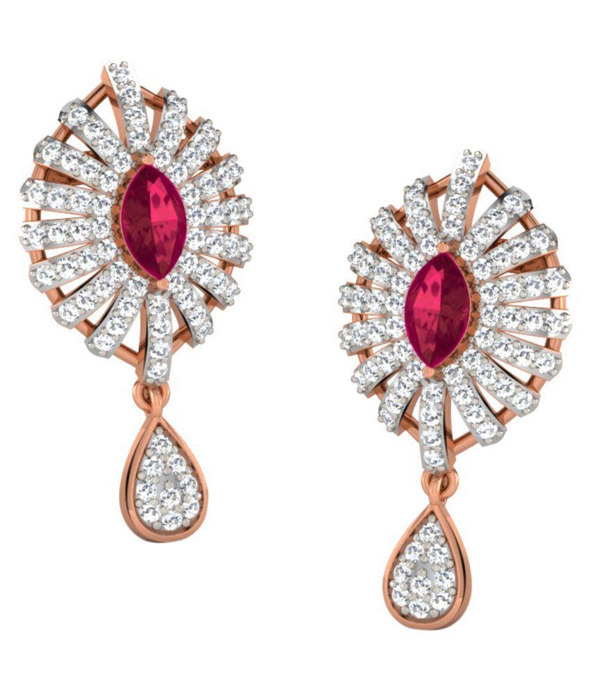 His & Her 18k BIS Hallmarked Rose Gold Ruby Hangings