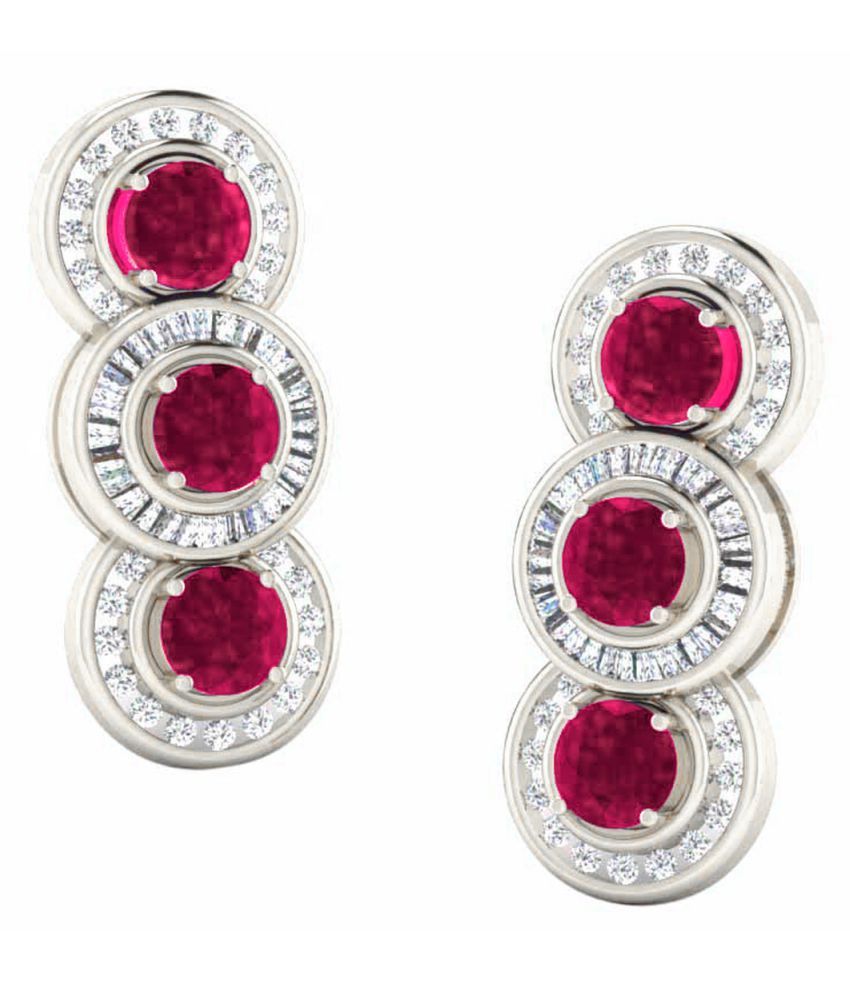 His & Her 18k BIS Hallmarked White Gold Ruby Drop Earrings