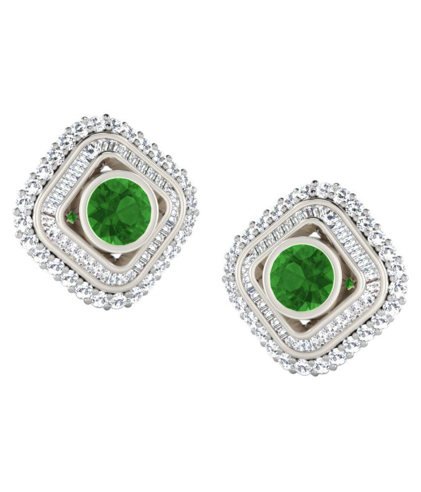 His & Her 18k BIS Hallmarked White Gold Emerald Studs