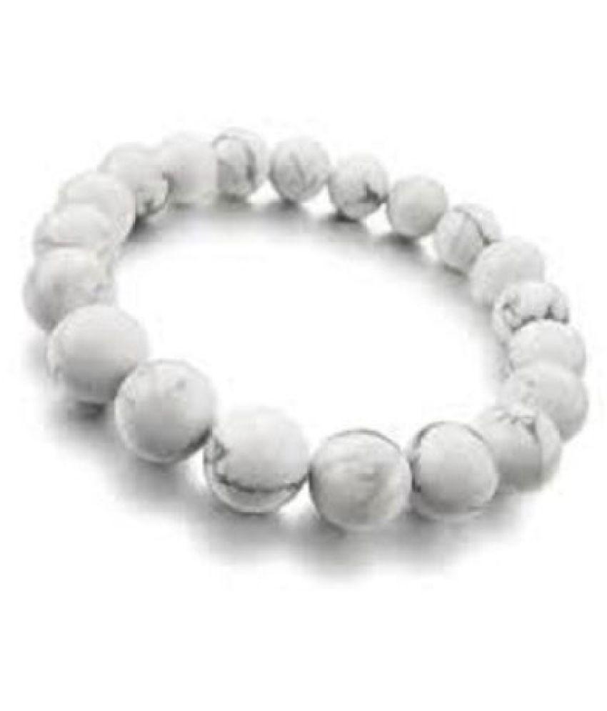Howlite Natural Gemstone Round Beads Hand Bracelet