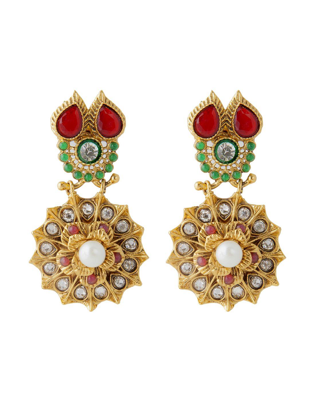 Kundan Beautiful Big Designer Dangler Flower Earrings in Maroon Green
