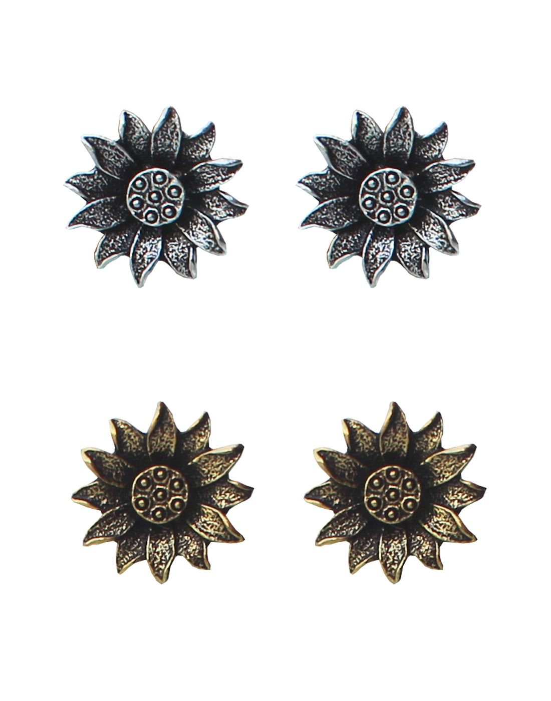 VahreVah Sun Flower Antique Finish Stud Earrings Gold and Silver Plating