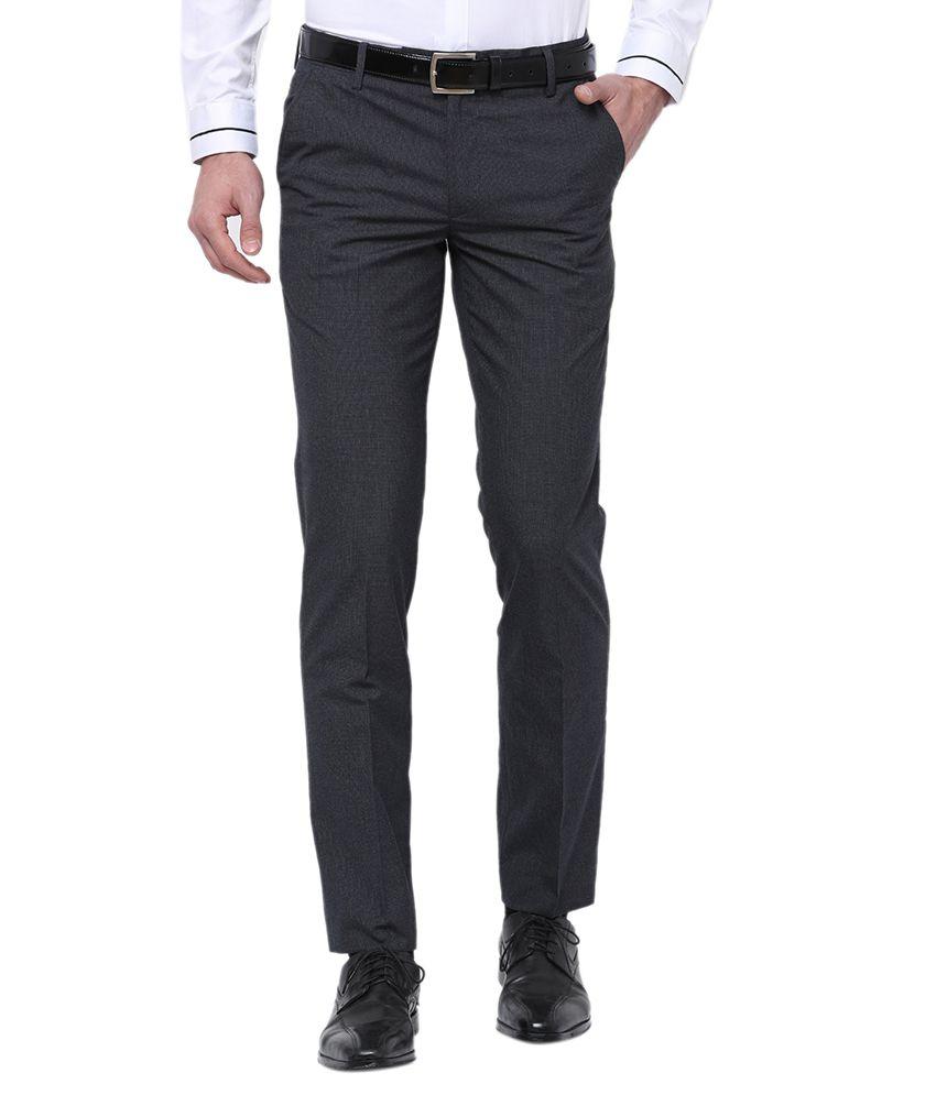 Black Coffee Navy Blue Regular -Fit Flat Trousers