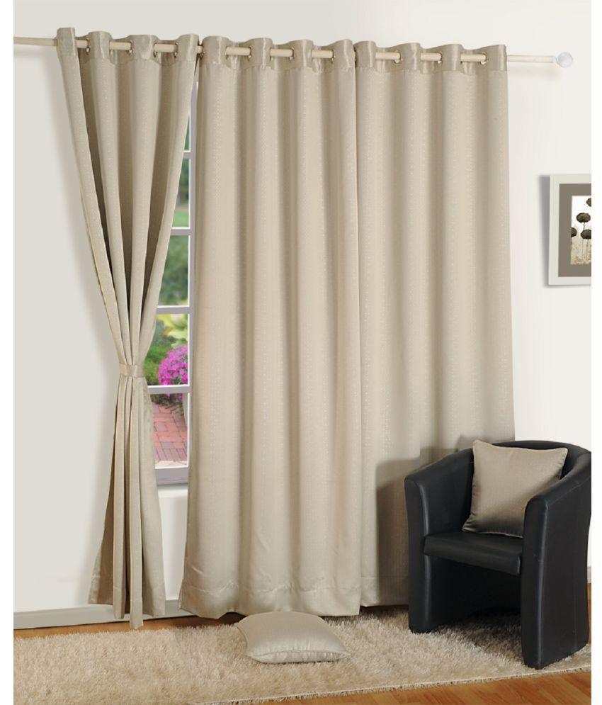 Swayam Single Long Door Eyelet Curtains Paisley Cream