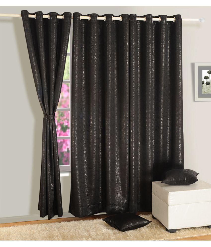 Swayam Single Window Eyelet Curtains Paisley Black
