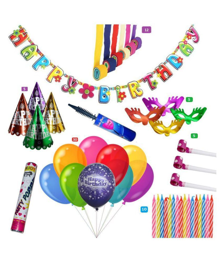 Complete Set Of 70 Pcs Full Room Birthday Decorations Order Today This Combo And Get 1 Balloon Inflator