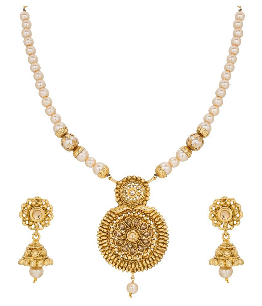 The Luxor Heavy Pearls and Stone Gold Plated Necklace Set with Jhumke Earrings for Women and Girls