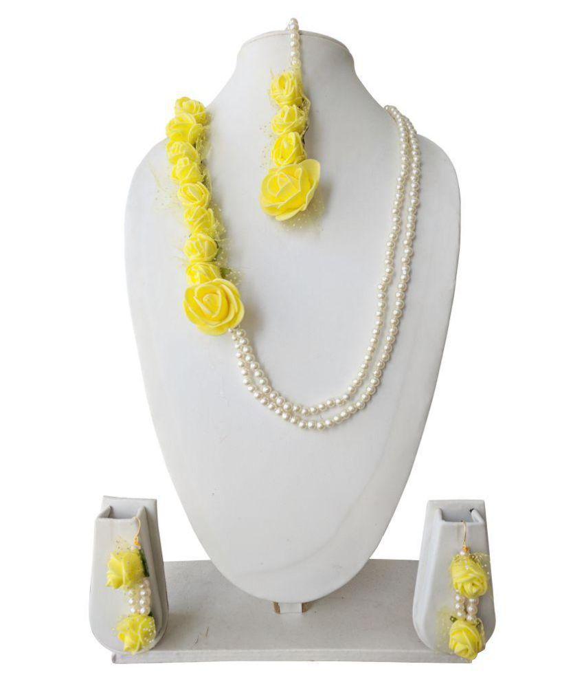 The Peacock Studio Red/Yellow Flower Jewellery Set for Haldi Mehndi Sangeet and Gifting