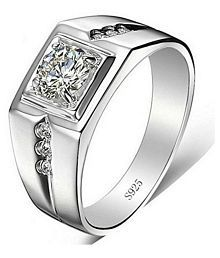 Exclusive Limited Edition Sterling Silver Swarovski Solitaire Adjustable Rings For Men & Boys