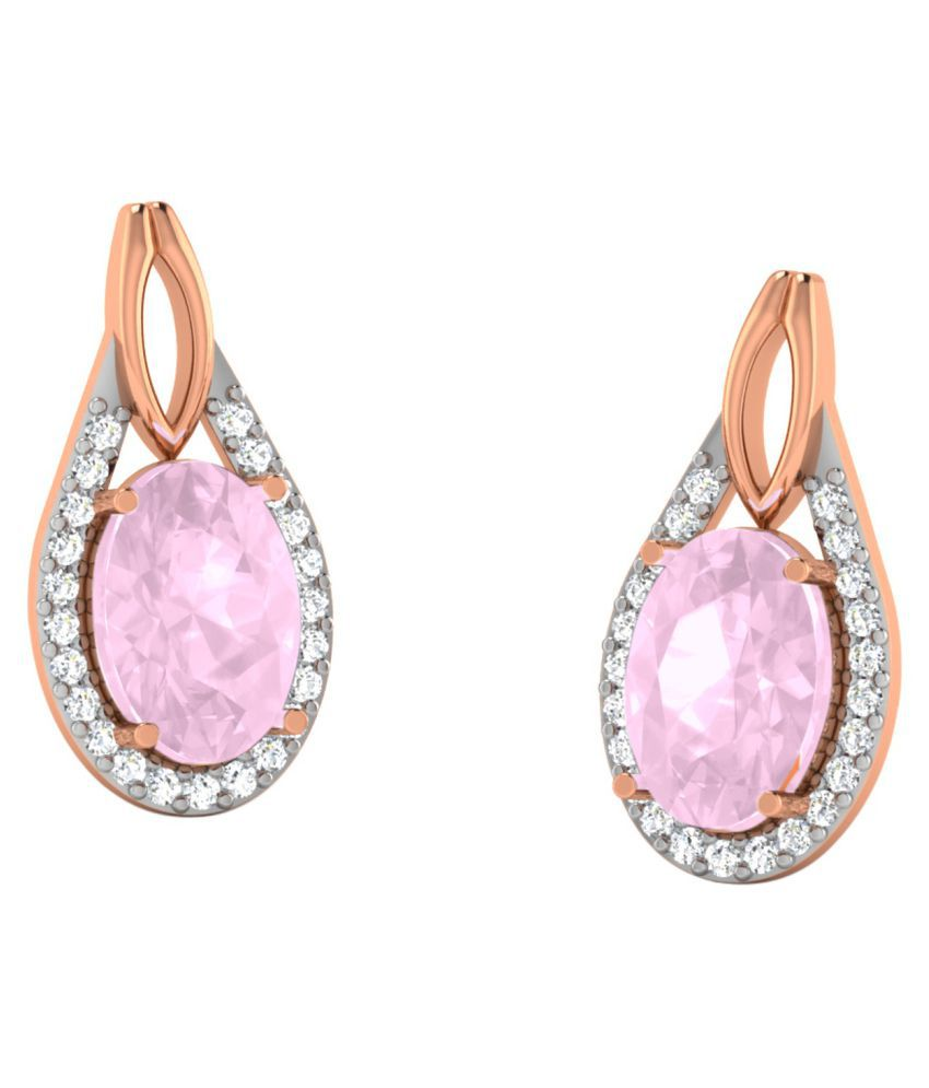His & Her 18k BIS Hallmarked Rose Gold Sapphire Drop Earrings