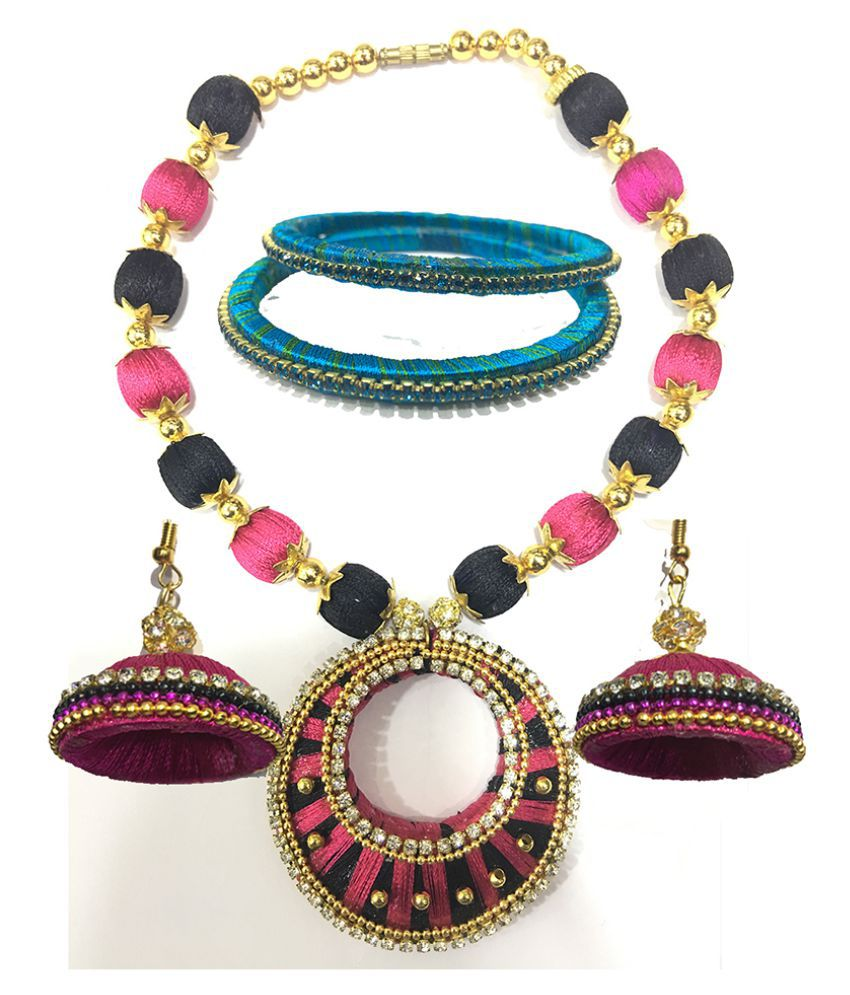 f639cadc18 Evania Silk Thread Dori necklace set with bangles and jhumka earrings - Buy  Evania Silk Thread Dori necklace set with bangles and jhumka earrings Online  at ...