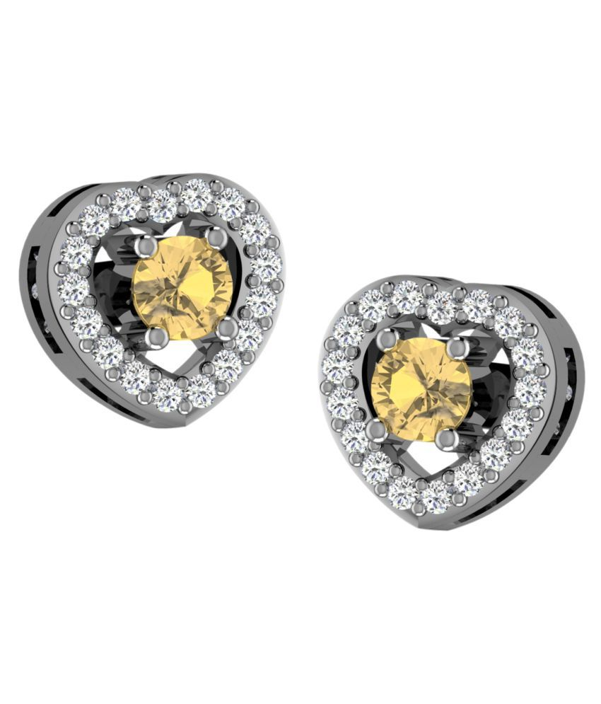 His & Her 18k BIS Hallmarked White Gold Citrine Studs