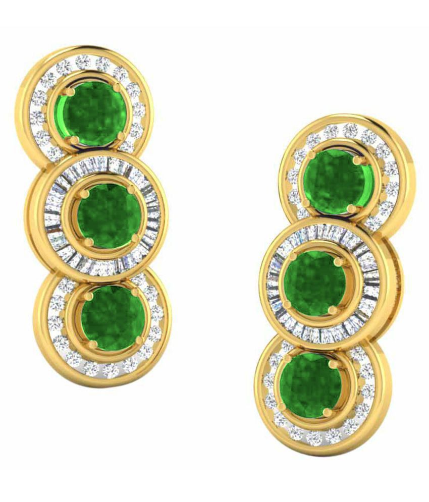 His & Her 18k BIS Hallmarked Yellow Gold Emerald Drop Earrings