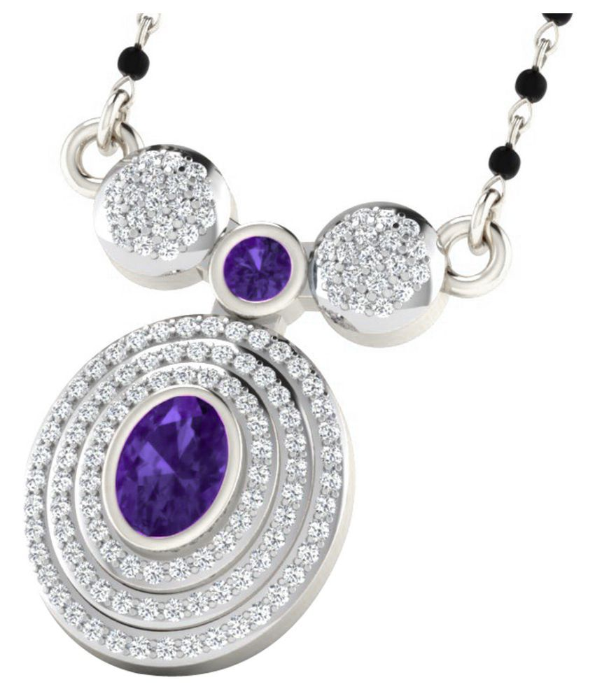 His & Her 18k White Gold Amethyst Mangalsutra