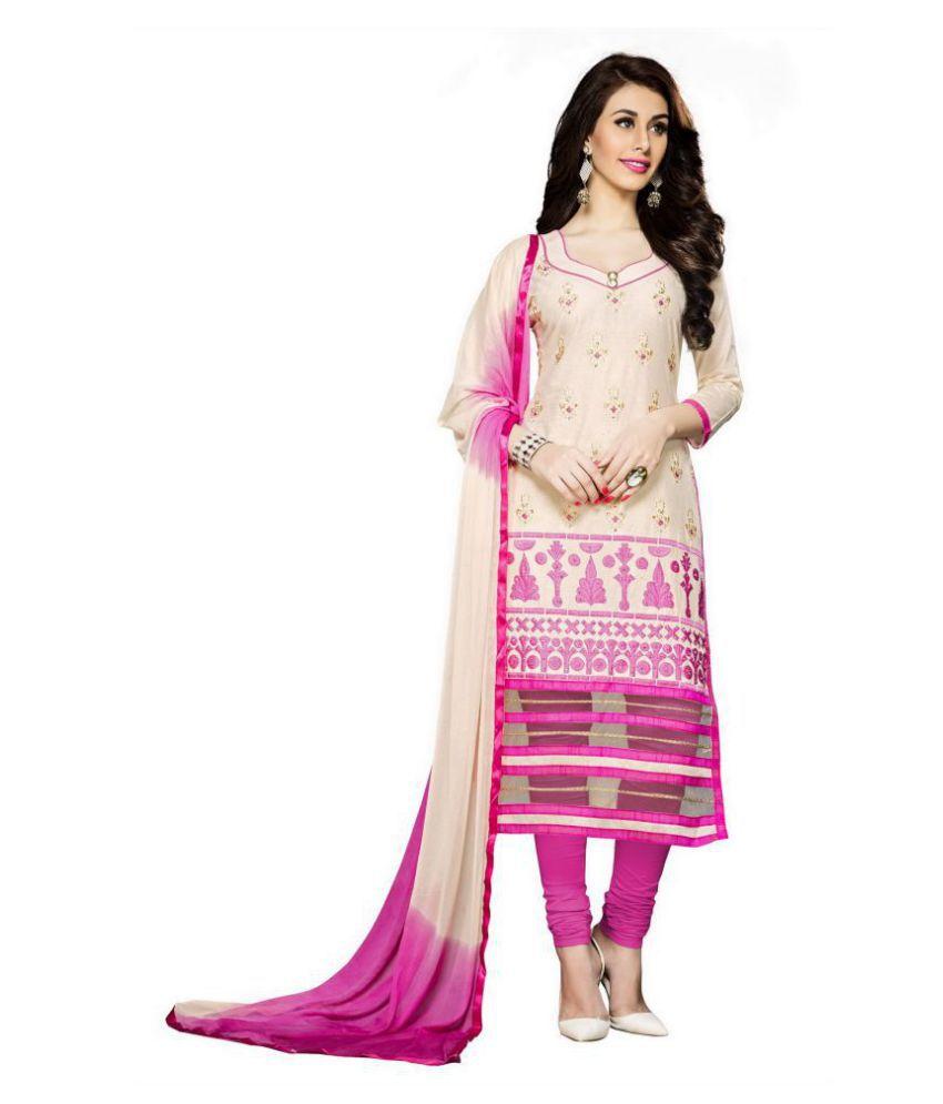 WALKNSHOP Beige Cotton Dress Material