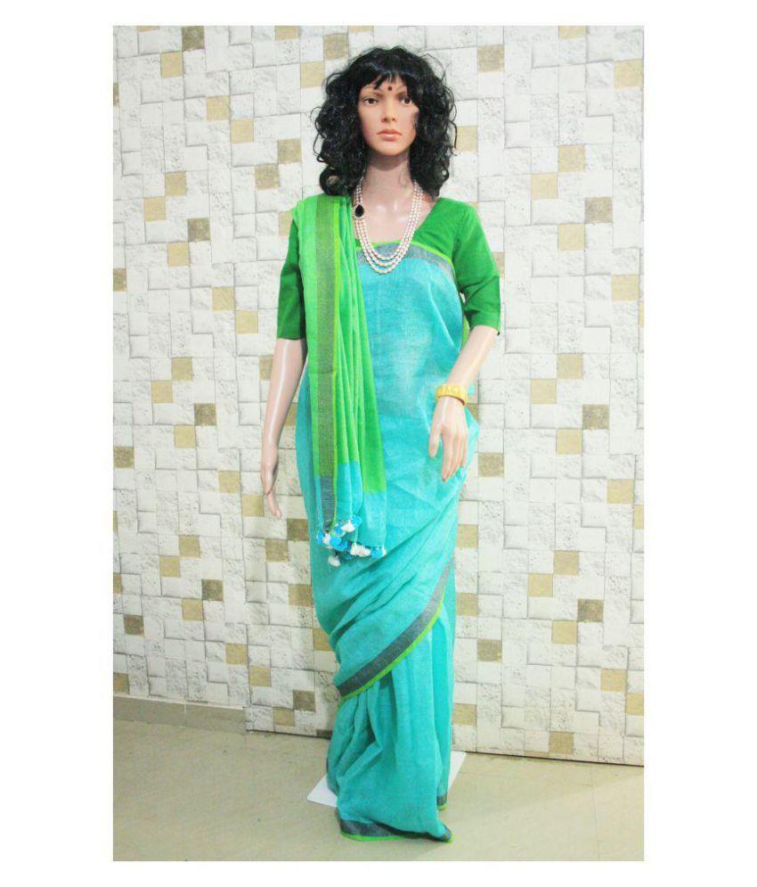 d3d4b0406c ANULIKA Green and Blue Linen Saree - Buy ANULIKA Green and Blue Linen Saree  Online at Low Price - Snapdeal.com