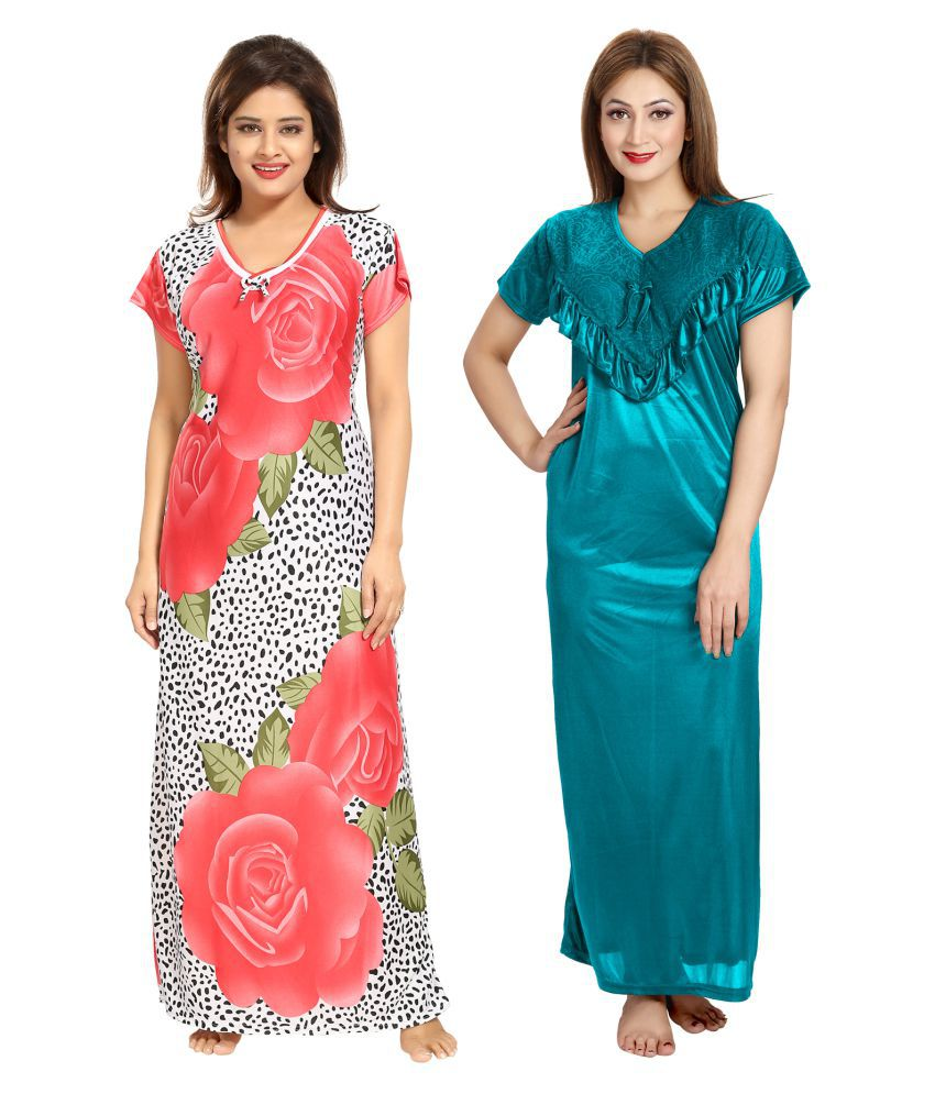 Be You Satin Nighty & Night Gowns - Multi Color