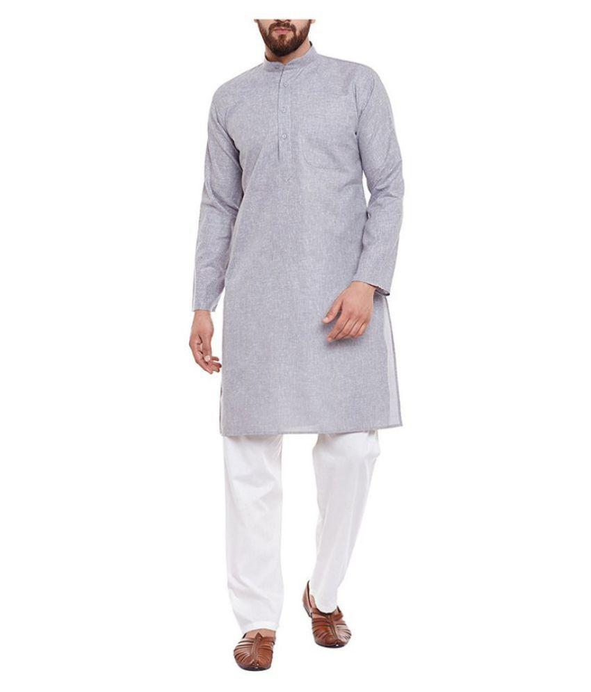 FOCIL Dark Grey Cotton Kurta Pyjama Set
