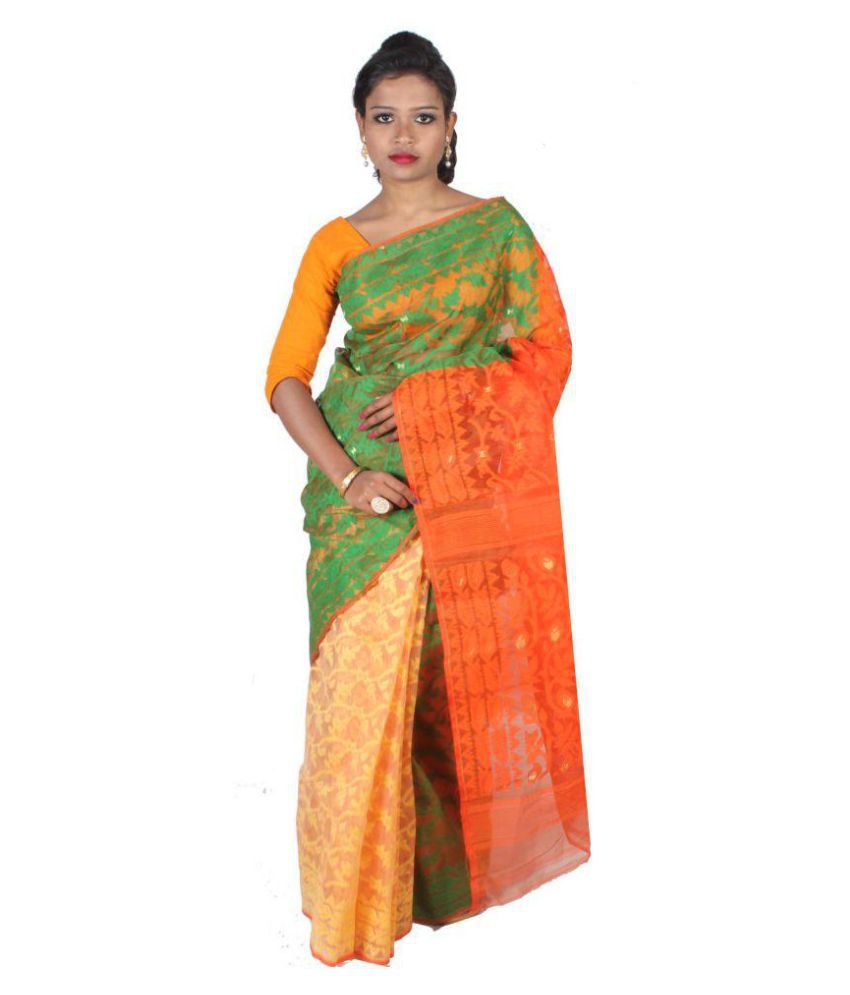ar shop Green and Orange Jamdani Saree