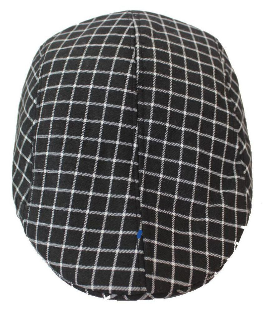 TakeInCart Black Checkered Cotton Caps