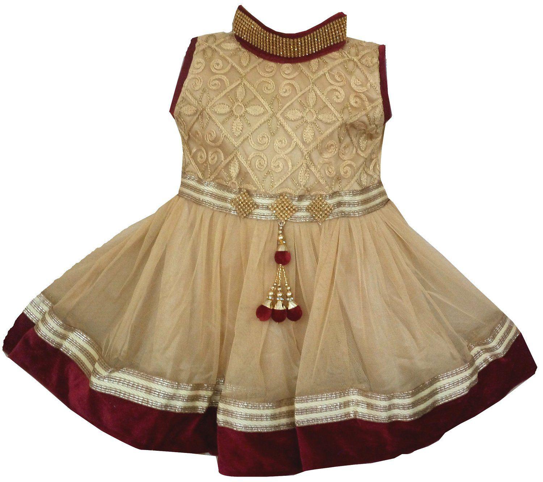 All About Pinks' Girls Ethnic Embellished Net Velvet Dress (190710BM24_Gold & Maroon_3-4 Years)