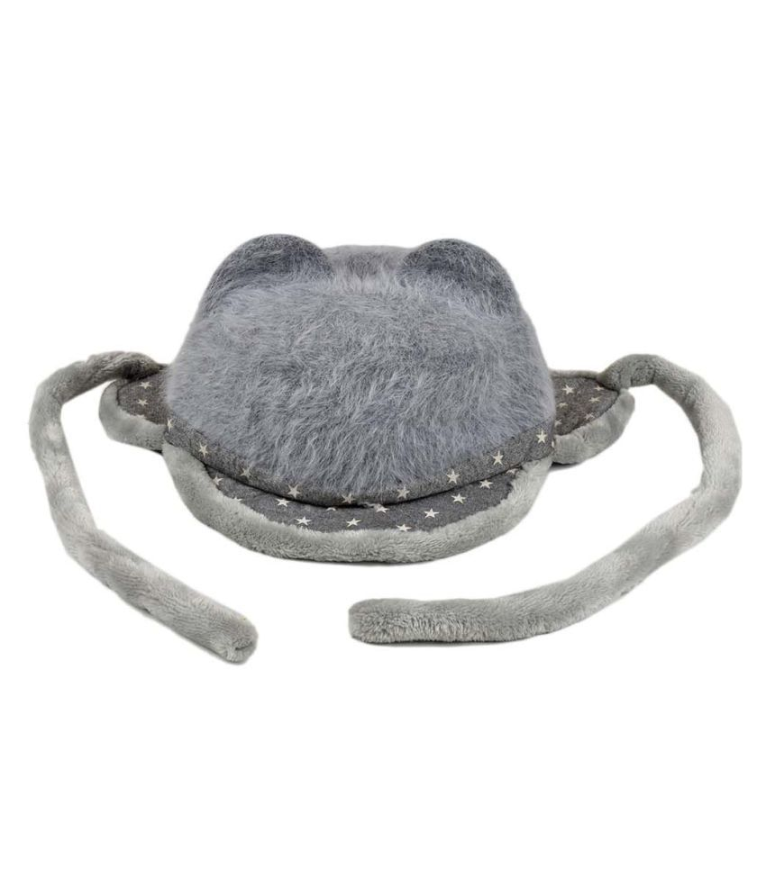 Tiekart Cute Funky Grey Winter Warm Woolen Cap With Side Ear Covering for Kids