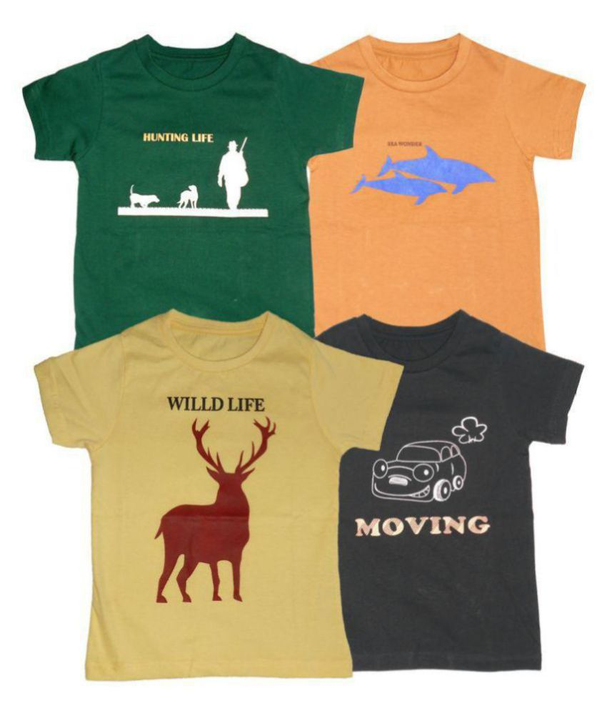 Awesome Kidz Pack Of 4 Printed Travel Themed Tshirt