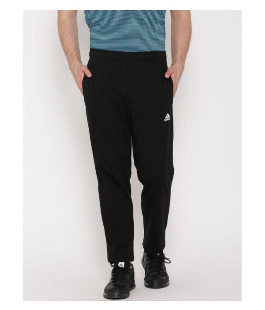 Adidas Blue/Black Polyester Lycra Traveling Trackpant
