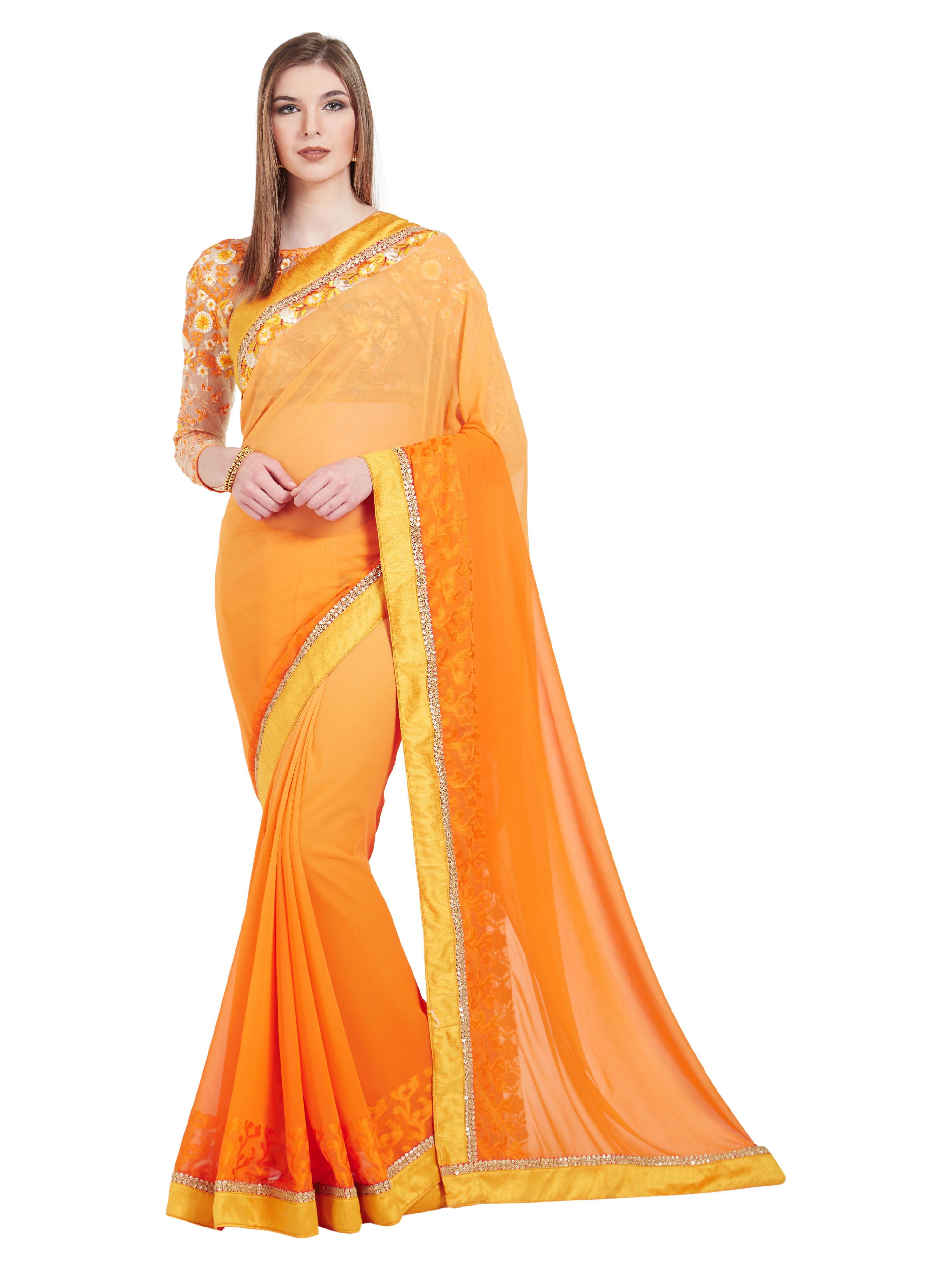 Patang International Orange Silk Saree